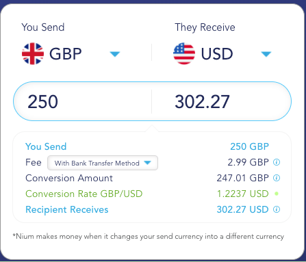 InstaReM fees and exchange rates