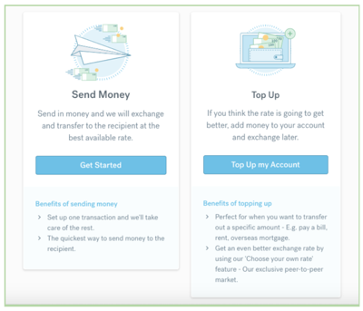 How to transfer money with CurrencyFair - Step 2
