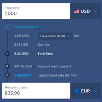 Wise Fees with Bank Transfer